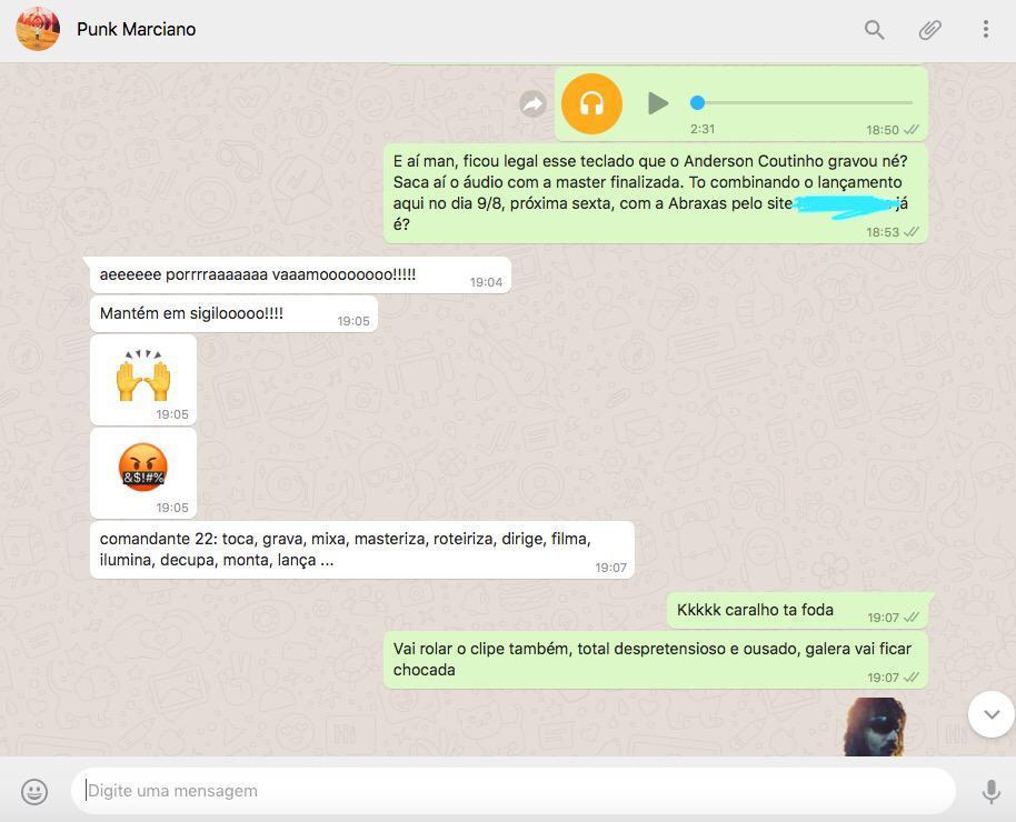 Whatapp conversa Comandante 22 Videoclipe