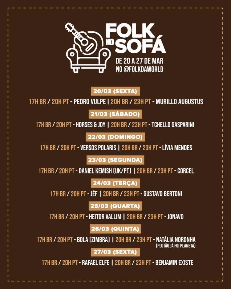 Coronavírus Festivais Folk no Sofá