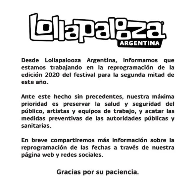 Lollapalooza Argentina Cancelado - Lollapalooza Brasil Deve Ser Cancelado