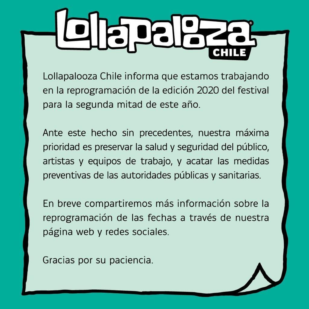 Lollapalooza Chile Adiado - Lollapalooza Brasil Cancelado