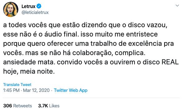 Letrux Aos Prantos no Twitter