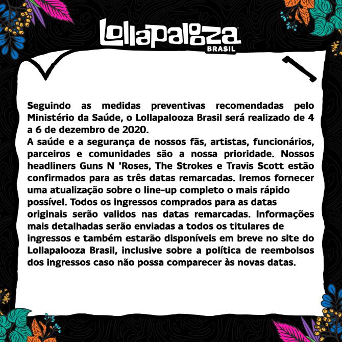 Lollapalooza Brasil 2020 Oficialmente Adiado