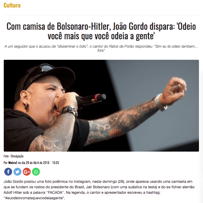 João Gordo Facada Bolsonaro